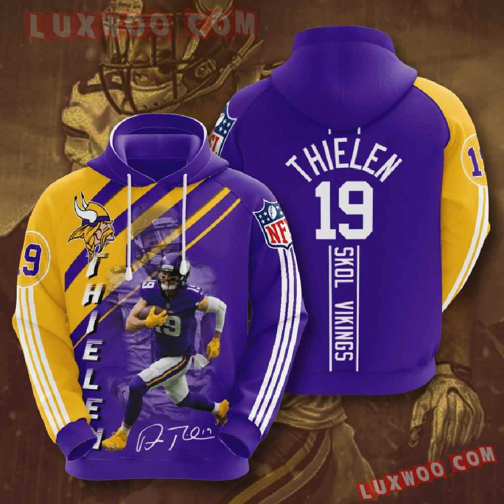 Nfl Minnesota Vikings 3d Hoodies Printed Zip Hoodies Sweatshirt Jacket V27