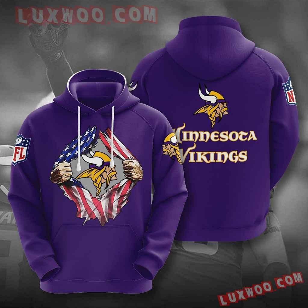 Nfl Minnesota Vikings 3d Hoodies Printed Zip Hoodies Sweatshirt Jacket V3
