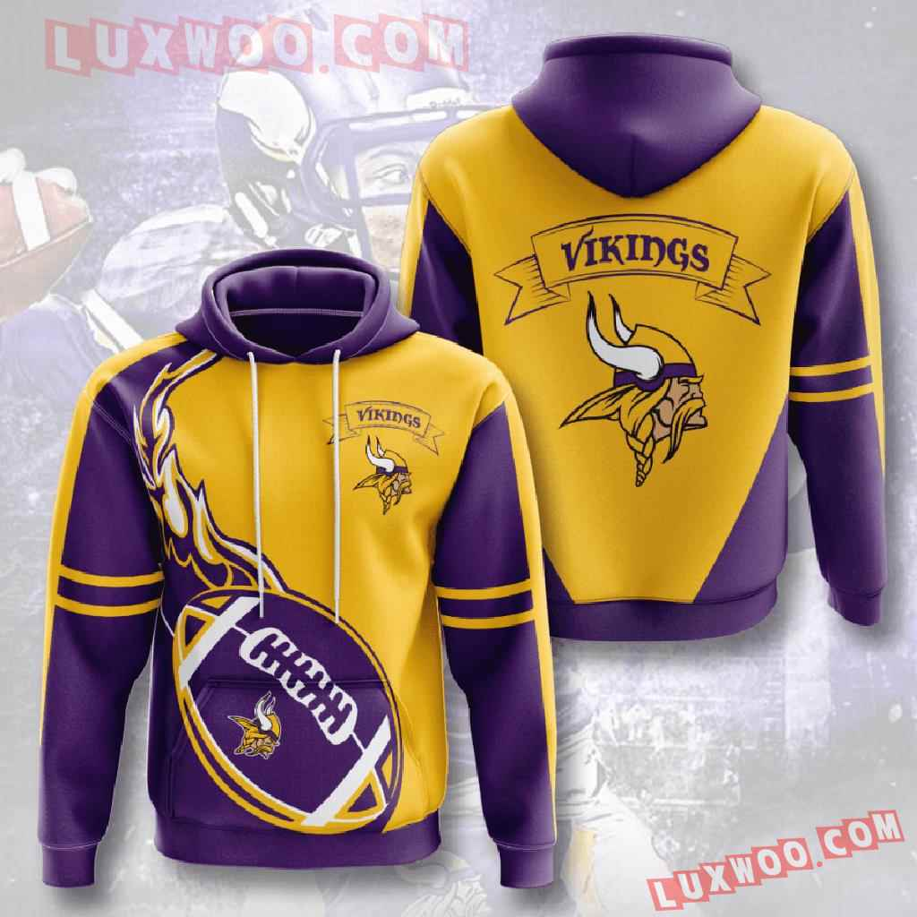 Nfl Minnesota Vikings 3d Hoodies Printed Zip Hoodies Sweatshirt Jacket V4