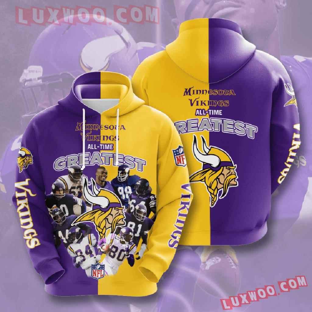 Nfl Minnesota Vikings 3d Hoodies Printed Zip Hoodies Sweatshirt Jacket V5