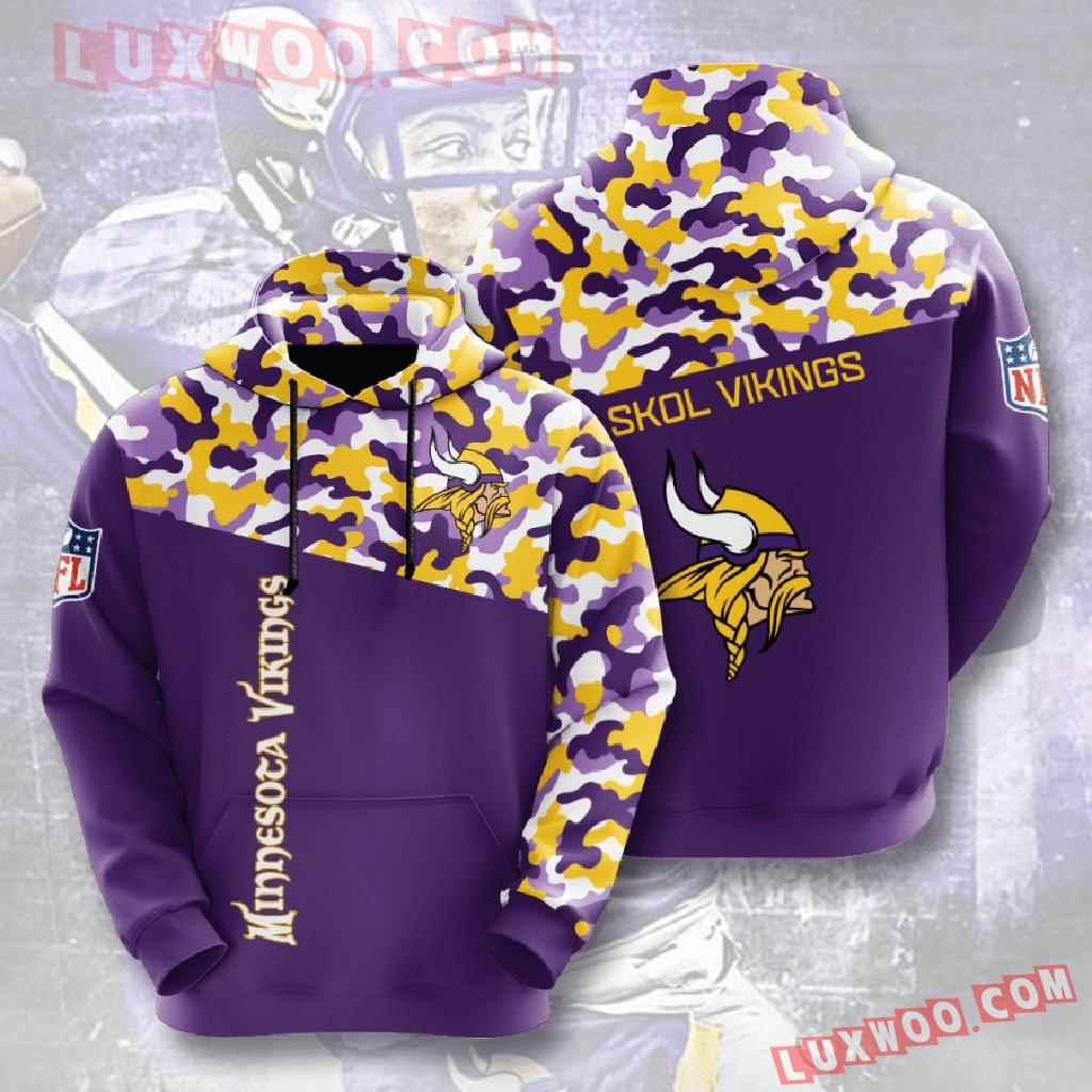 Nfl Minnesota Vikings 3d Hoodies Printed Zip Hoodies Sweatshirt Jacket V7