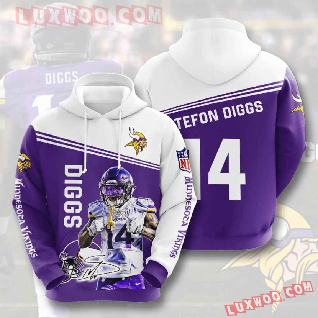 Nfl Minnesota Vikings 3d Hoodies Printed Zip Hoodies Sweatshirt Jacket V9