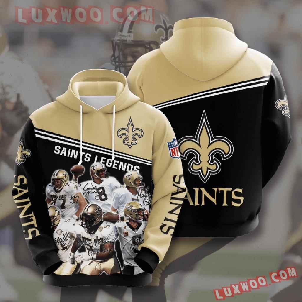 Nfl New Orleans Saints 3d Hoodies Printed Zip Hoodies Sweatshirt Jacket V10