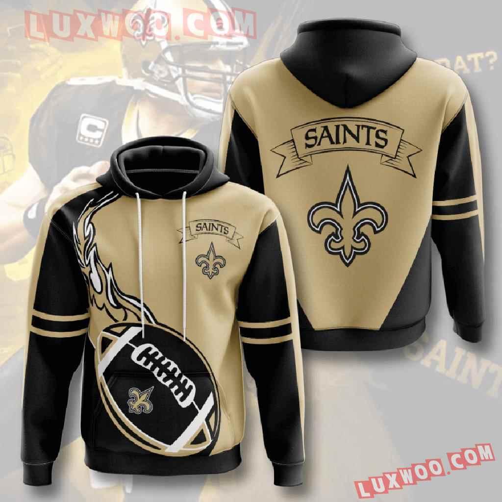 Nfl New Orleans Saints 3d Hoodies Printed Zip Hoodies Sweatshirt Jacket V4