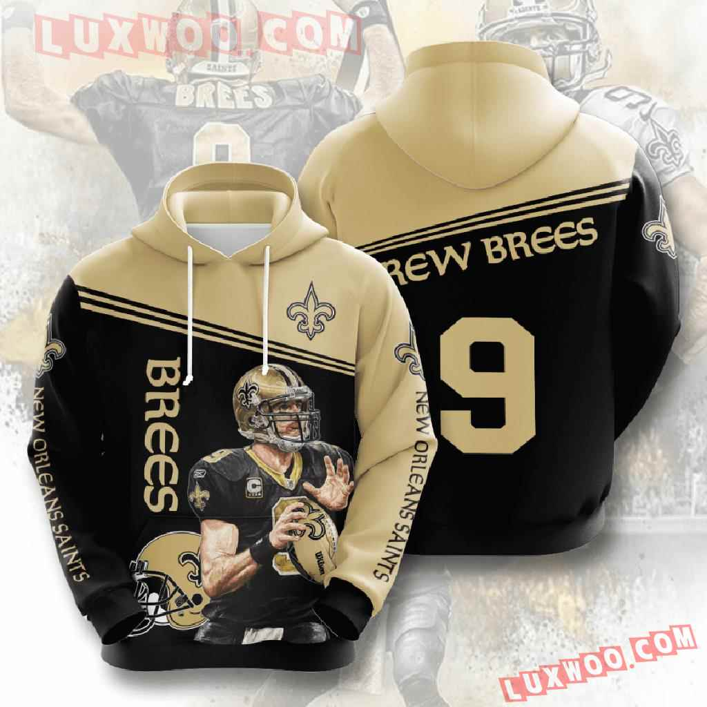 Nfl New Orleans Saints 3d Hoodies Printed Zip Hoodies Sweatshirt Jacket V5