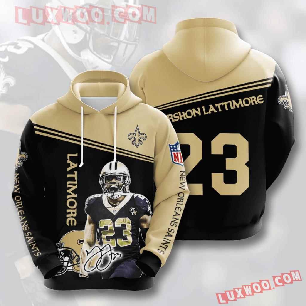 Nfl New Orleans Saints 3d Hoodies Printed Zip Hoodies Sweatshirt Jacket V7