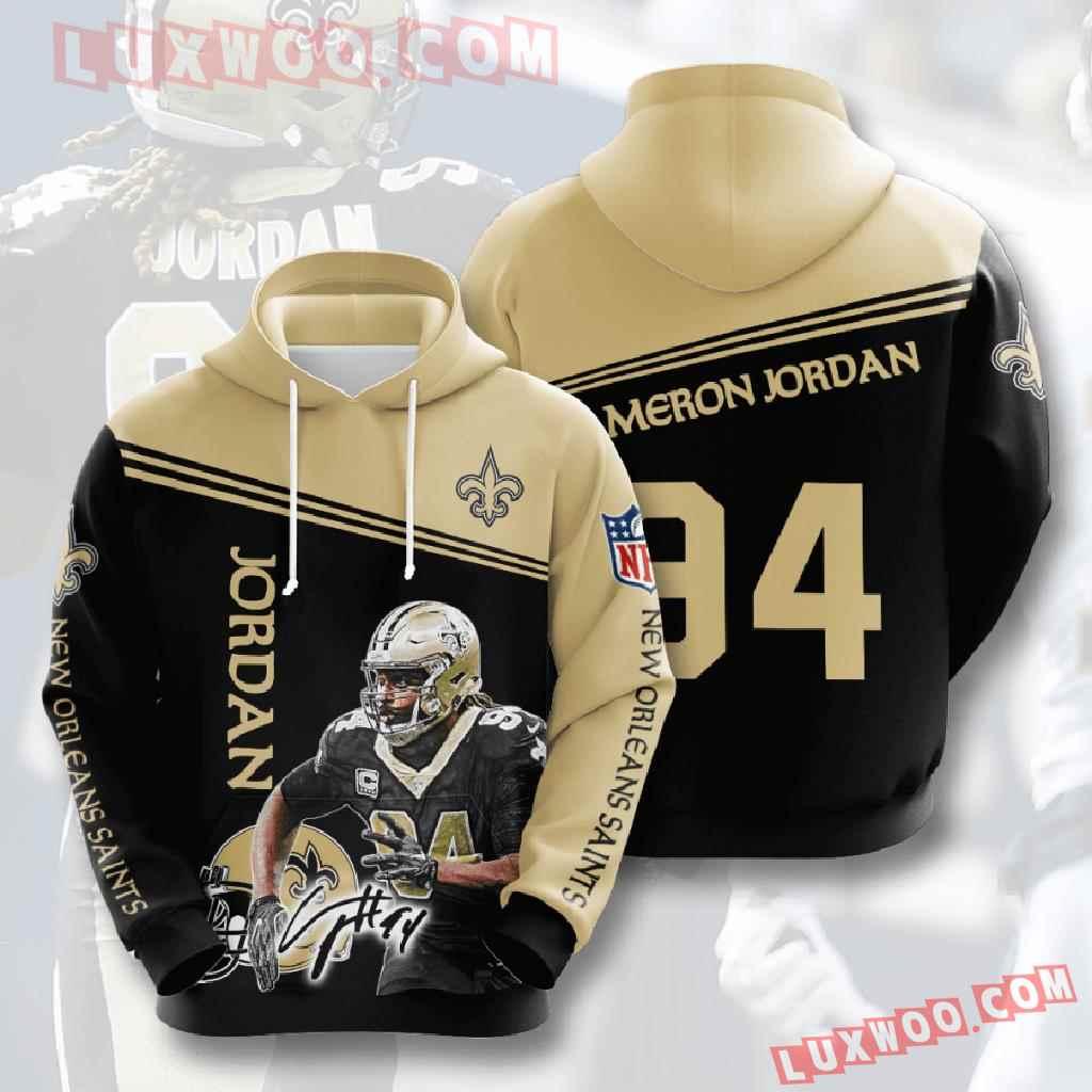 Nfl New Orleans Saints 3d Hoodies Printed Zip Hoodies Sweatshirt Jacket V9