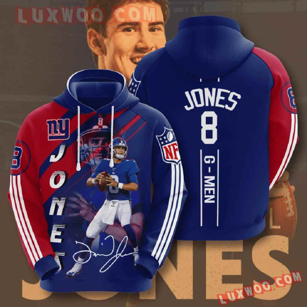 Nfl New York Giants 3d Hoodies Printed Zip Hoodies Sweatshirt Jacket V3