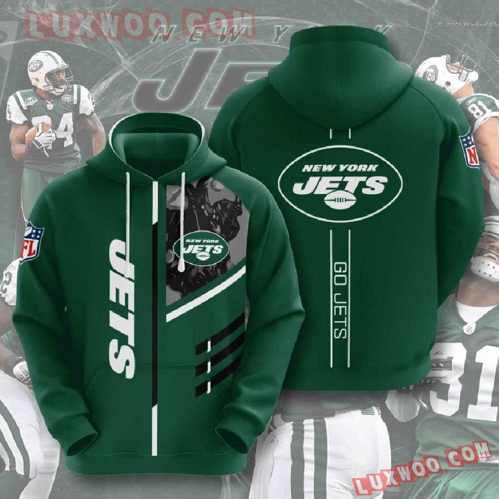 Nfl New York Jets 3d Hoodies Printed Zip Hoodies Sweatshirt Jacket V1