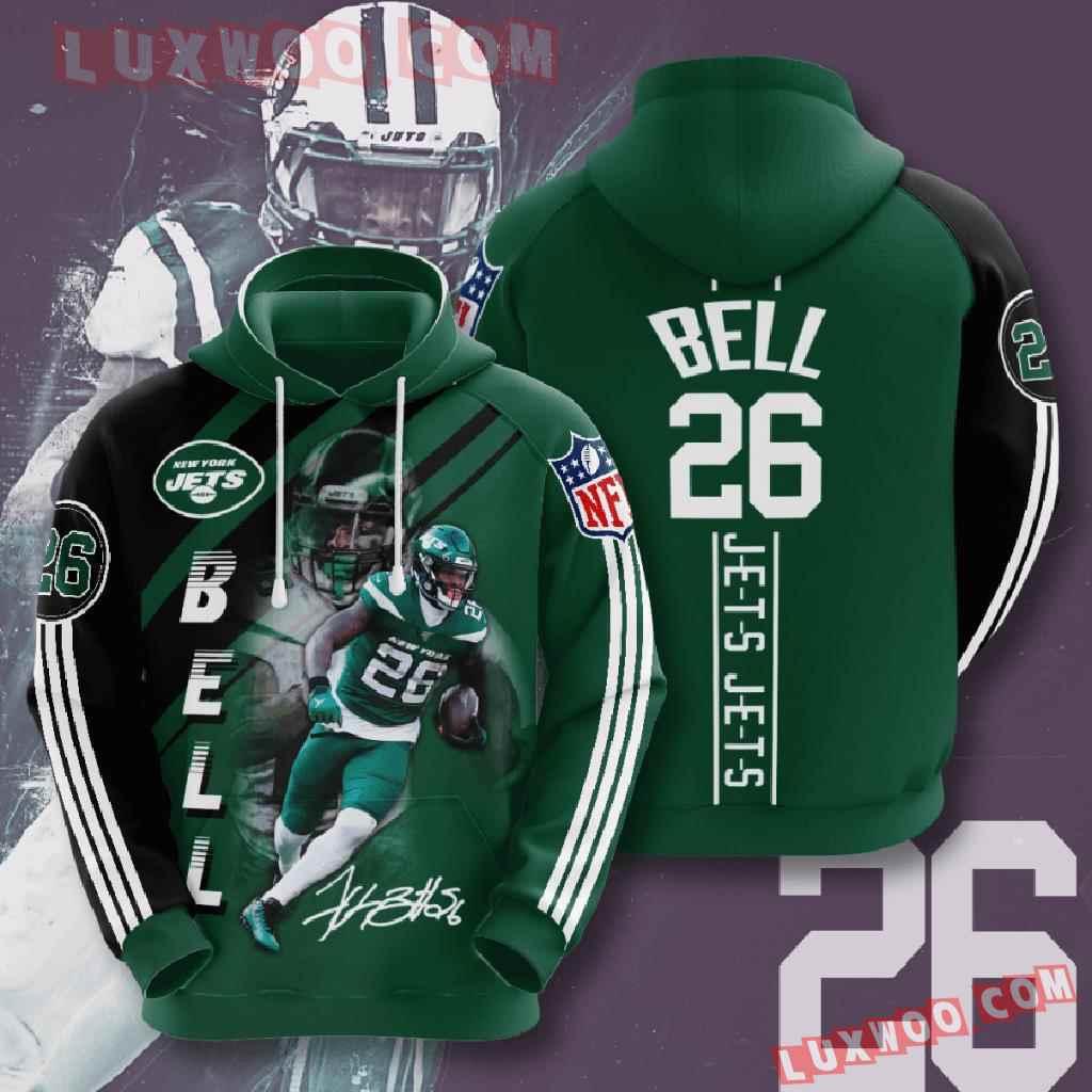 Nfl New York Jets 3d Hoodies Printed Zip Hoodies Sweatshirt Jacket V10