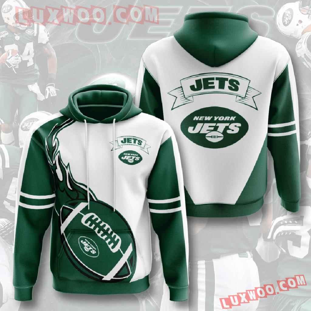 Nfl New York Jets 3d Hoodies Printed Zip Hoodies Sweatshirt Jacket V3
