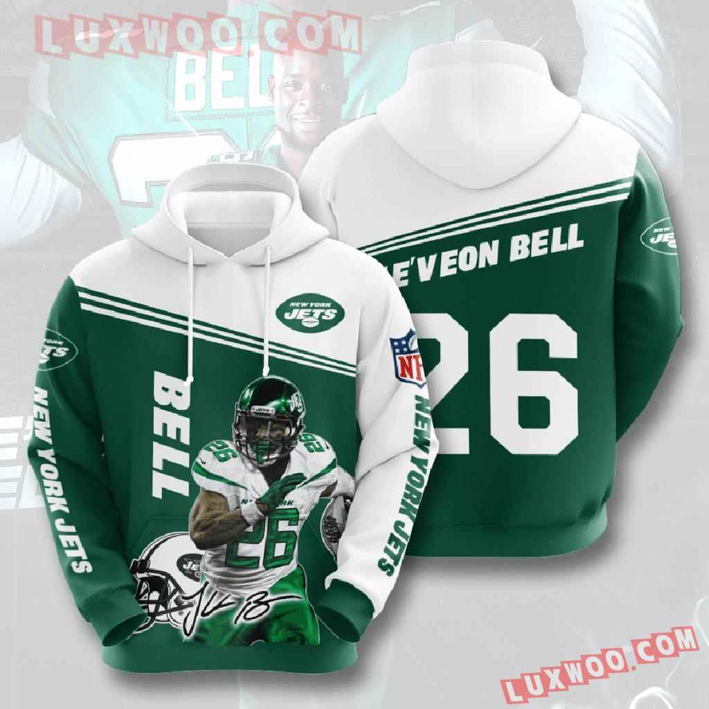 Nfl New York Jets 3d Hoodies Printed Zip Hoodies Sweatshirt Jacket V4