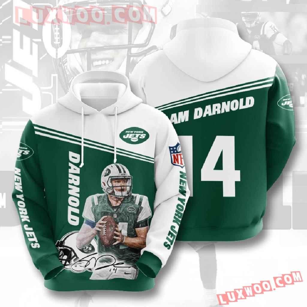 Nfl New York Jets 3d Hoodies Printed Zip Hoodies Sweatshirt Jacket V5