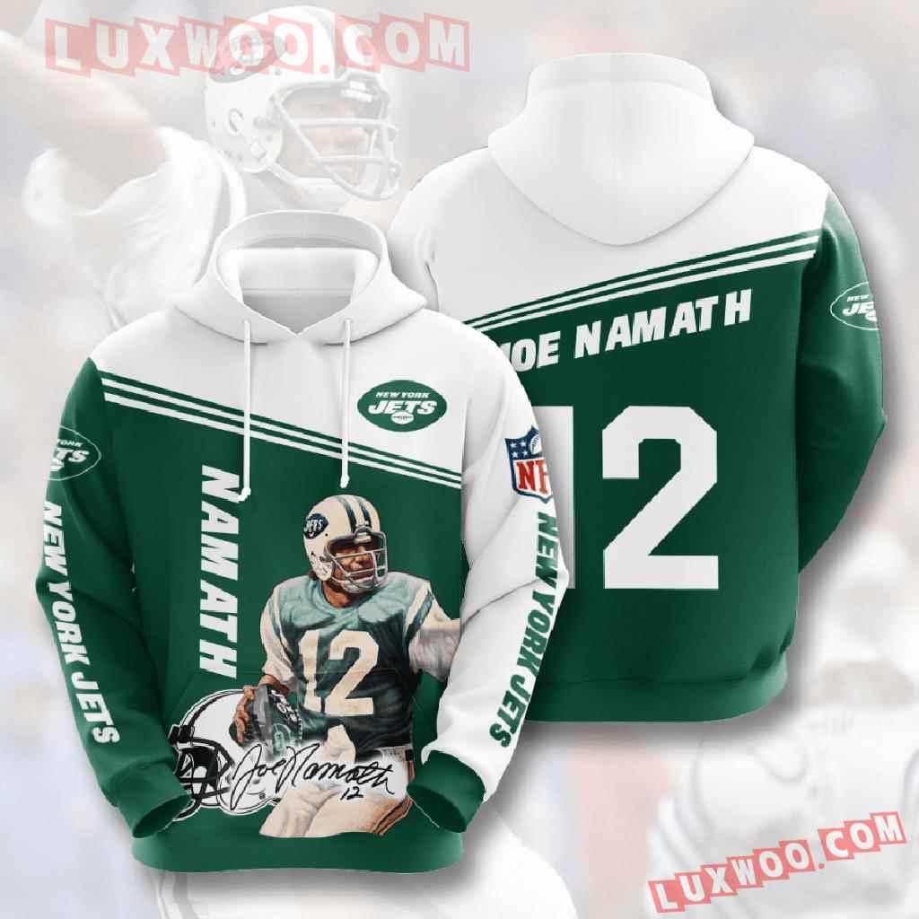 Nfl New York Jets 3d Hoodies Printed Zip Hoodies Sweatshirt Jacket V6
