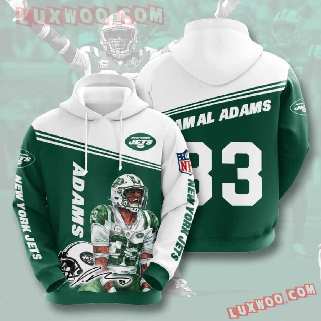 Nfl New York Jets 3d Hoodies Printed Zip Hoodies Sweatshirt Jacket V7