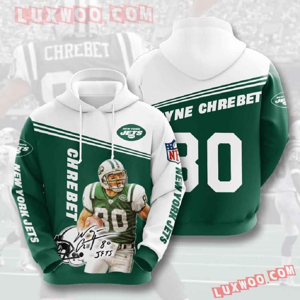 Nfl New York Jets 3d Hoodies Printed Zip Hoodies Sweatshirt Jacket V9