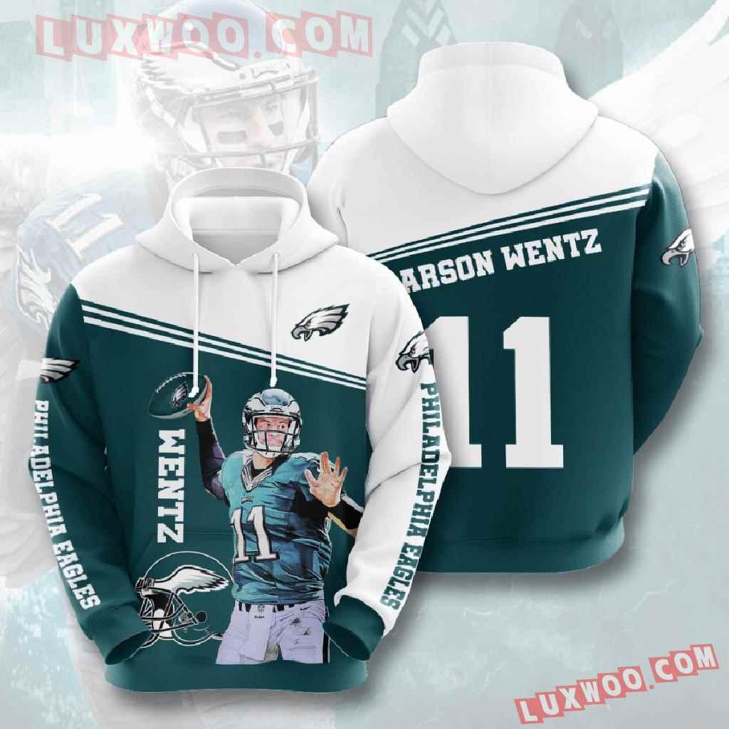 Nfl Philadelphia Eagles 3d Hoodies Printed Zip Hoodies Sweatshirt Jacket V5