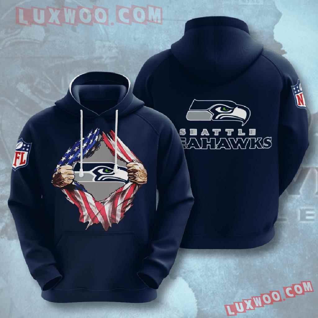 Nfl Seattle Seahawks 3d Hoodies Printed Zip Hoodies Sweatshirt Jacket V1