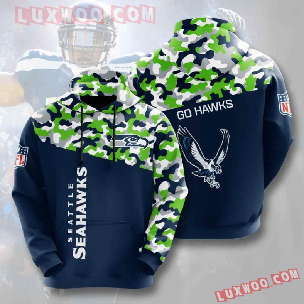 Nfl Seattle Seahawks 3d Hoodies Printed Zip Hoodies Sweatshirt Jacket V5
