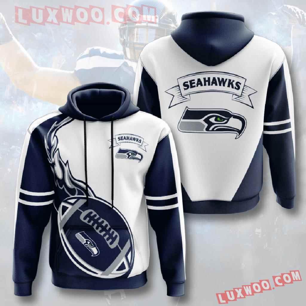Nfl Seattle Seahawks 3d Hoodies Printed Zip Hoodies Sweatshirt Jacket V8