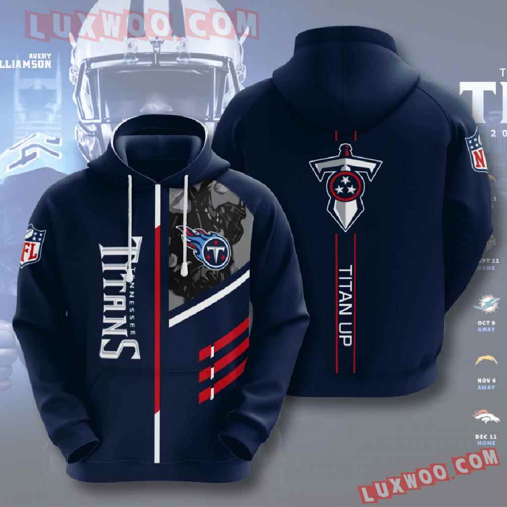 Nfl Tennessee Titans 3d Hoodies Printed Zip Hoodies Sweatshirt Jacket V1