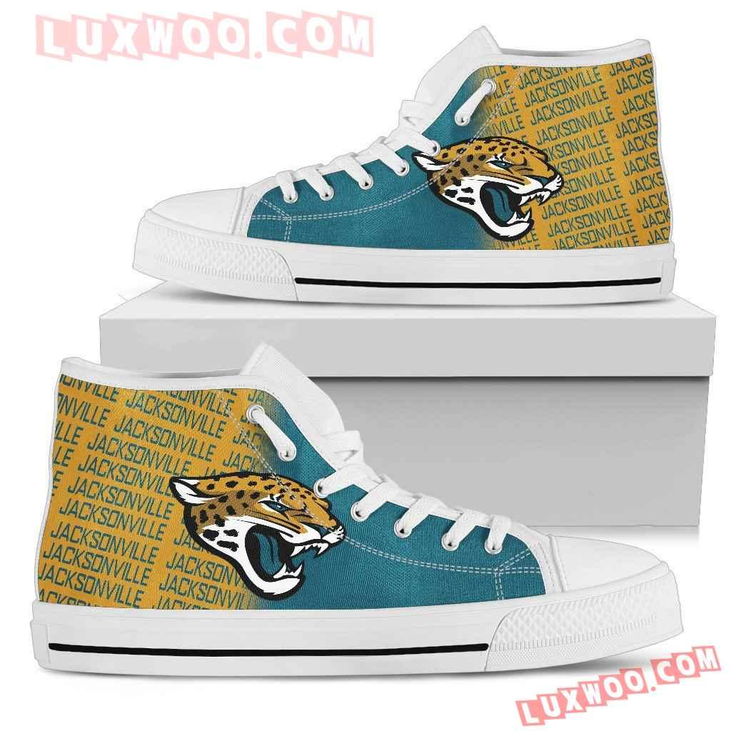 Nfl Jacksonville Jaguars High Top Shoes Sneaker Sport V1