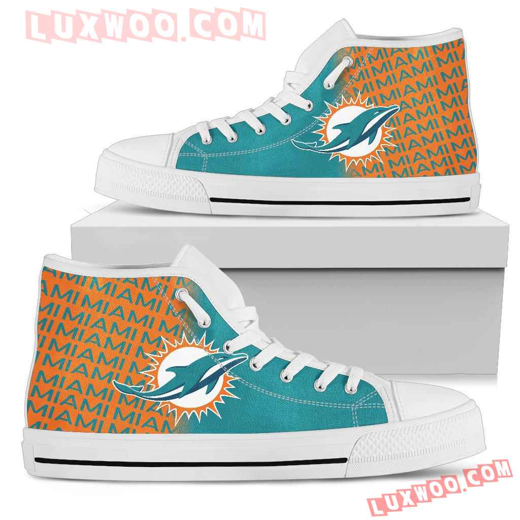 Nfl Miami Dolphins High Top Shoes Sneaker Sport V1
