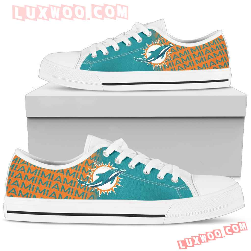 Nfl Miami Dolphins Low Top Shoes Sneaker Sport V1