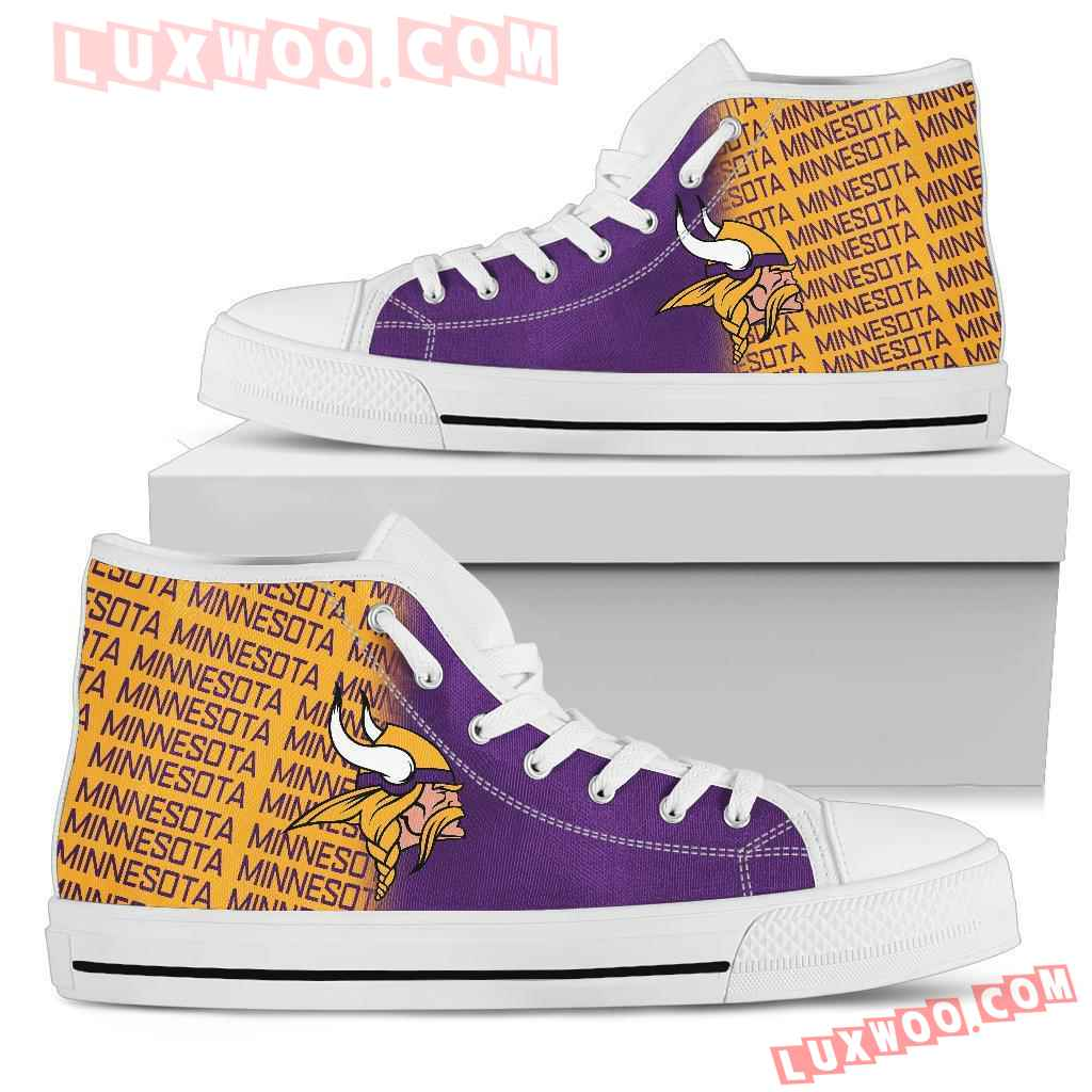 Nfl Minnesota Vikings High Top Shoes Sneaker Sport V1