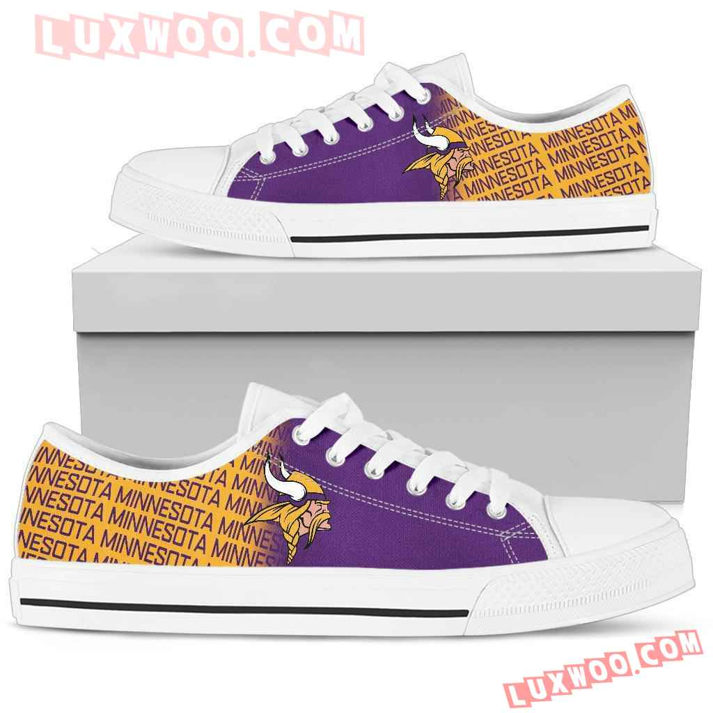 Nfl Minnesota Vikings Low Top Shoes Sneaker Sport V1