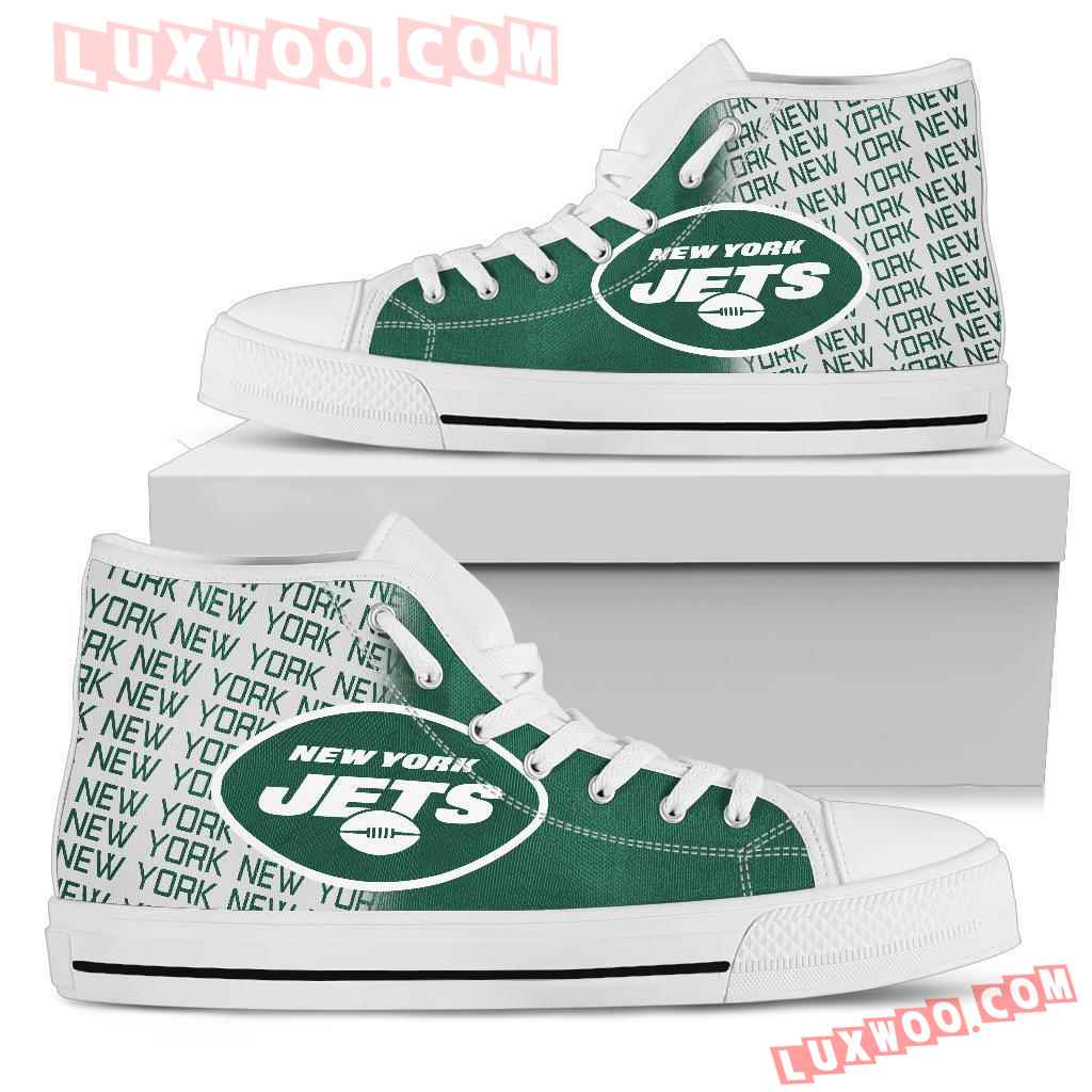 Nfl New York Jets High Top Shoes Sneaker Sport V1