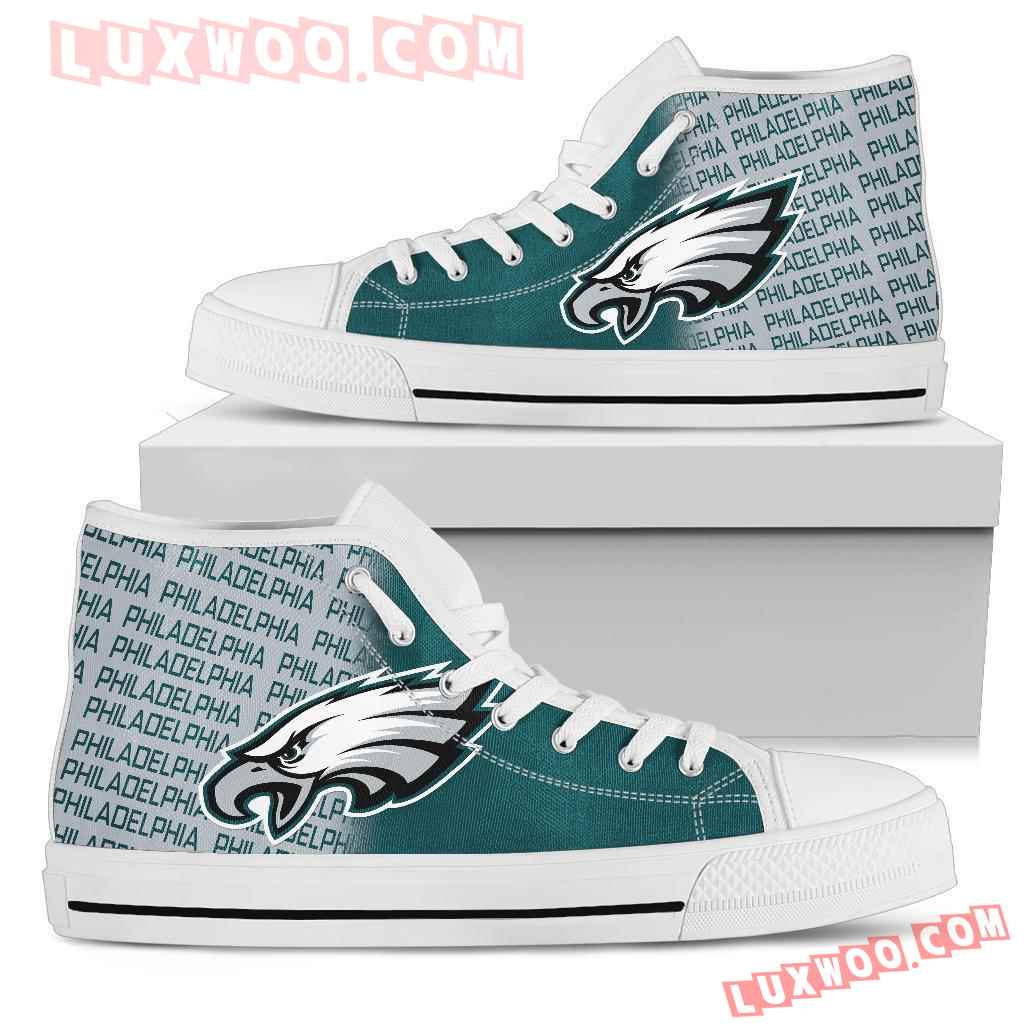 Nfl Philadelphia Eagles High Top Shoes Sneaker Sport V1