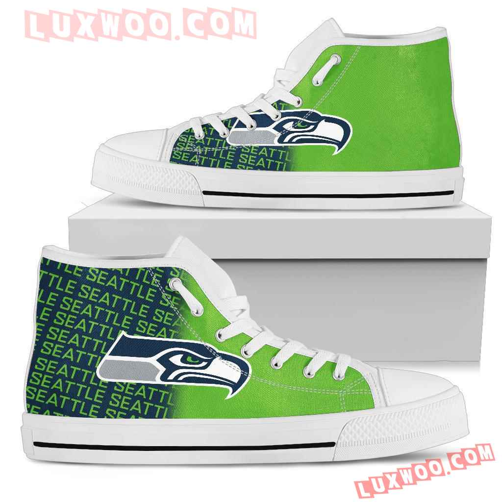Nfl Seattle Seahawks High Top Shoes Sneaker Sport V1