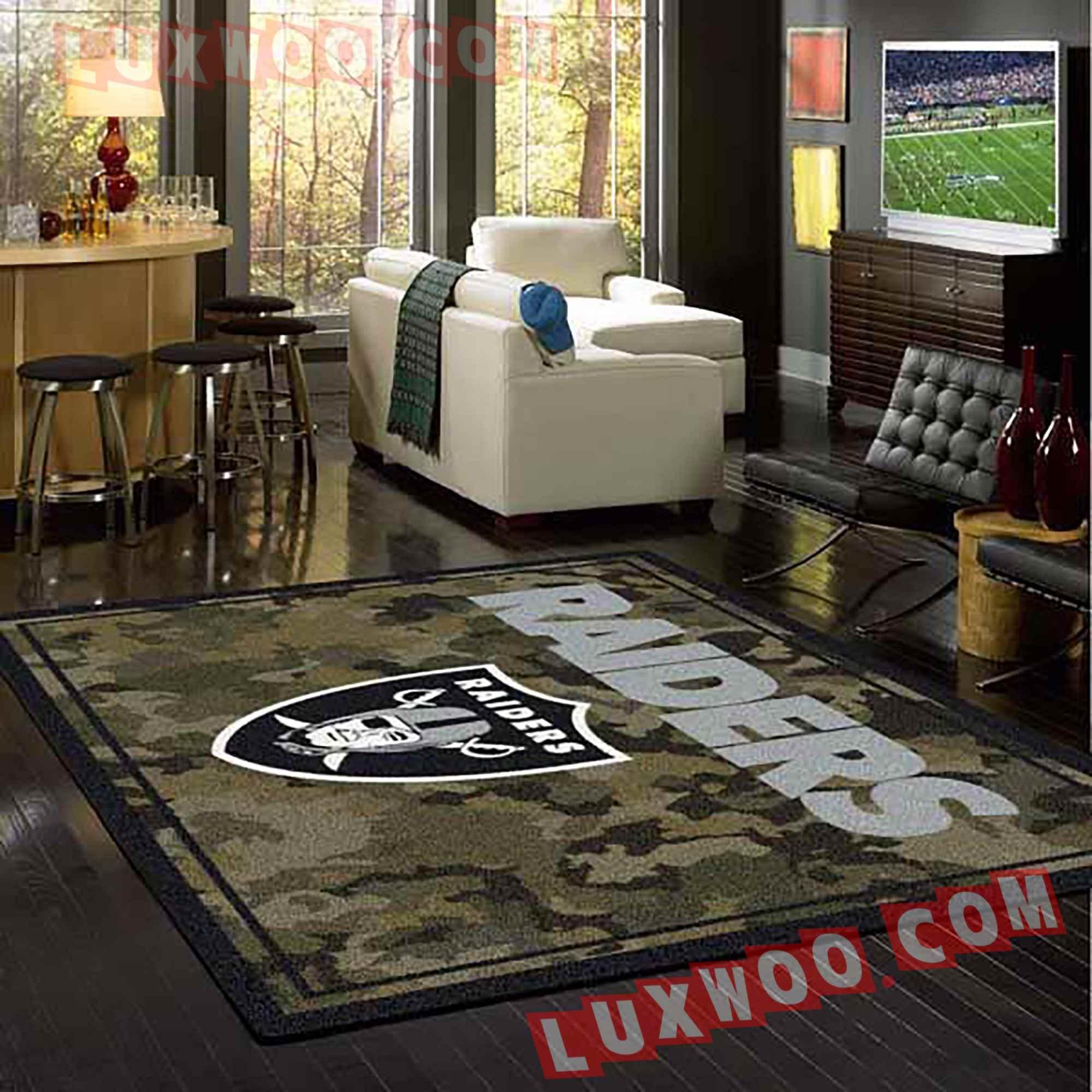 Oakland Raiders Nfl 3d Living Room Rugs V11