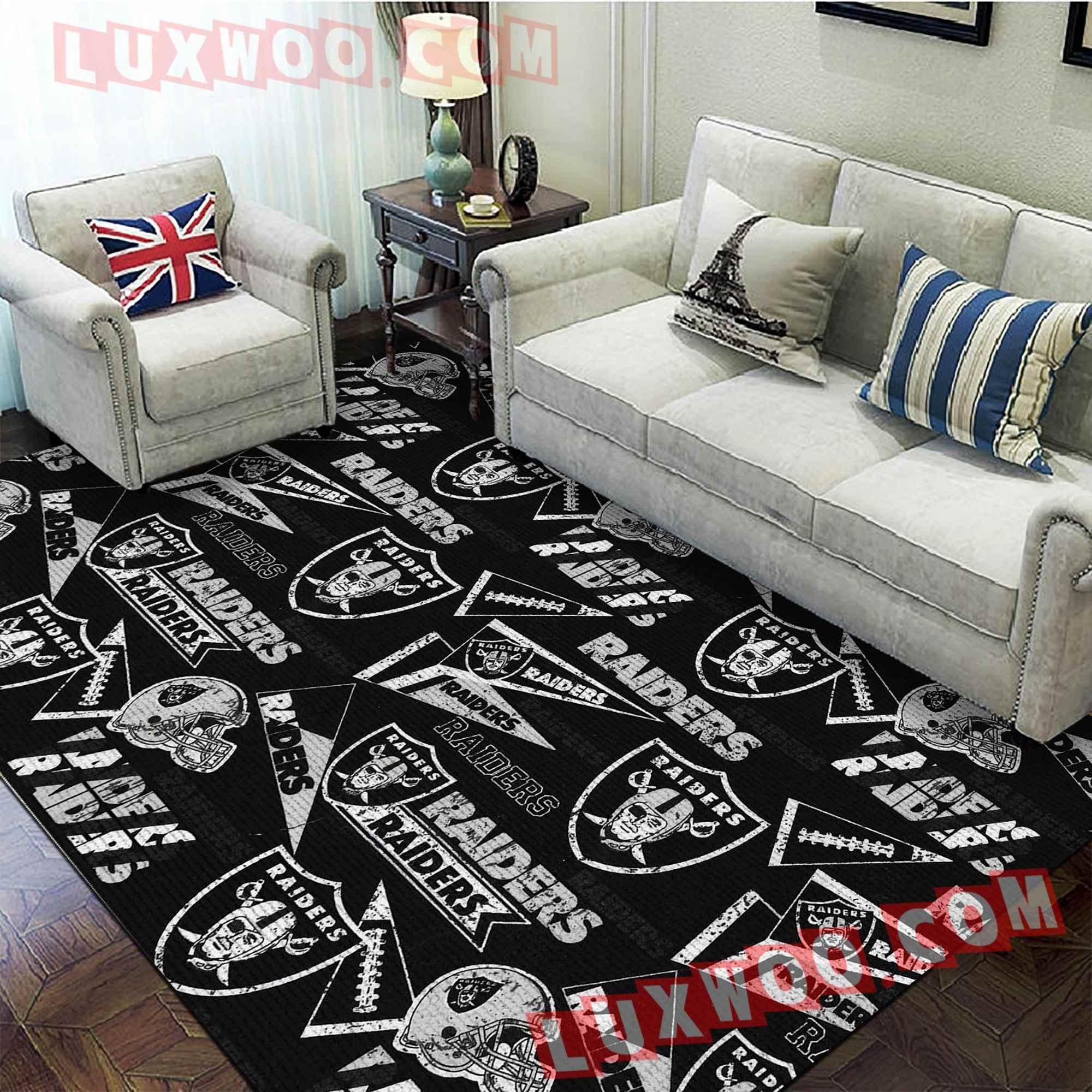 Oakland Raiders Nfl 3d Living Room Rugs V12