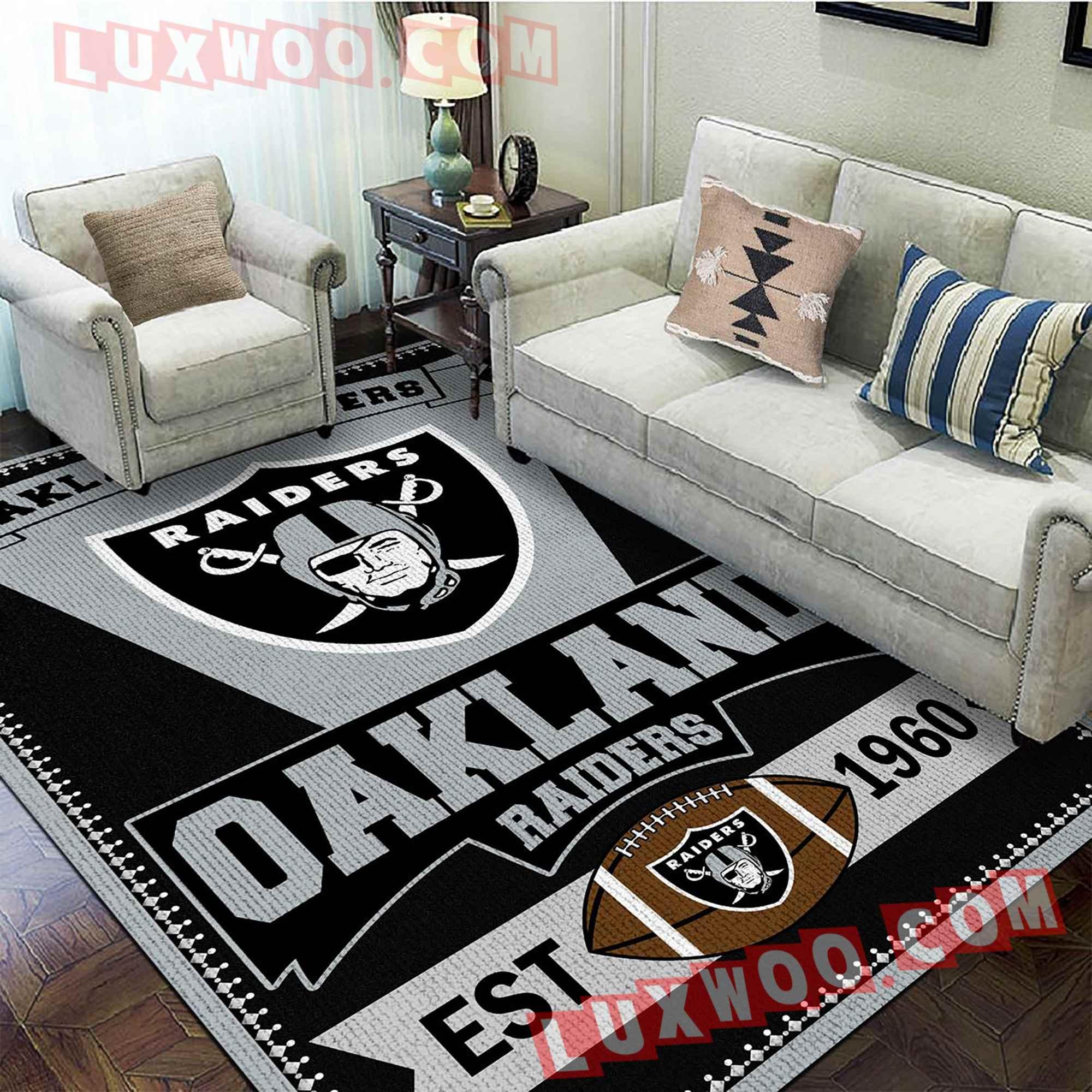 Oakland Raiders Nfl 3d Living Room Rugs V4