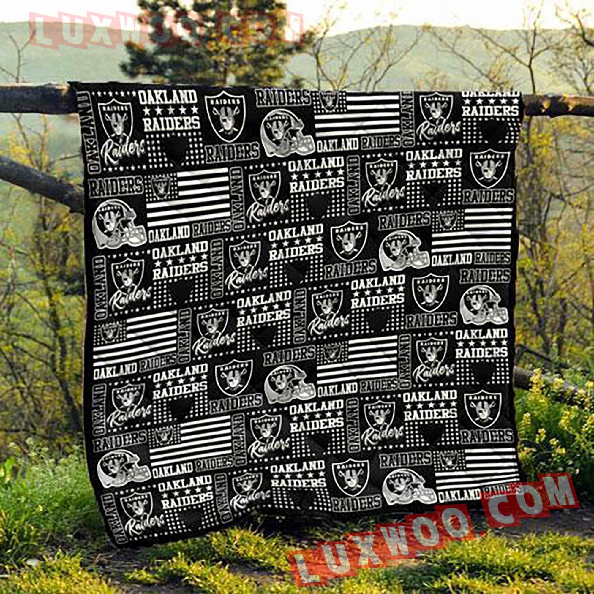 Oakland Raiders Nfl 3d Quilt Blanket V2