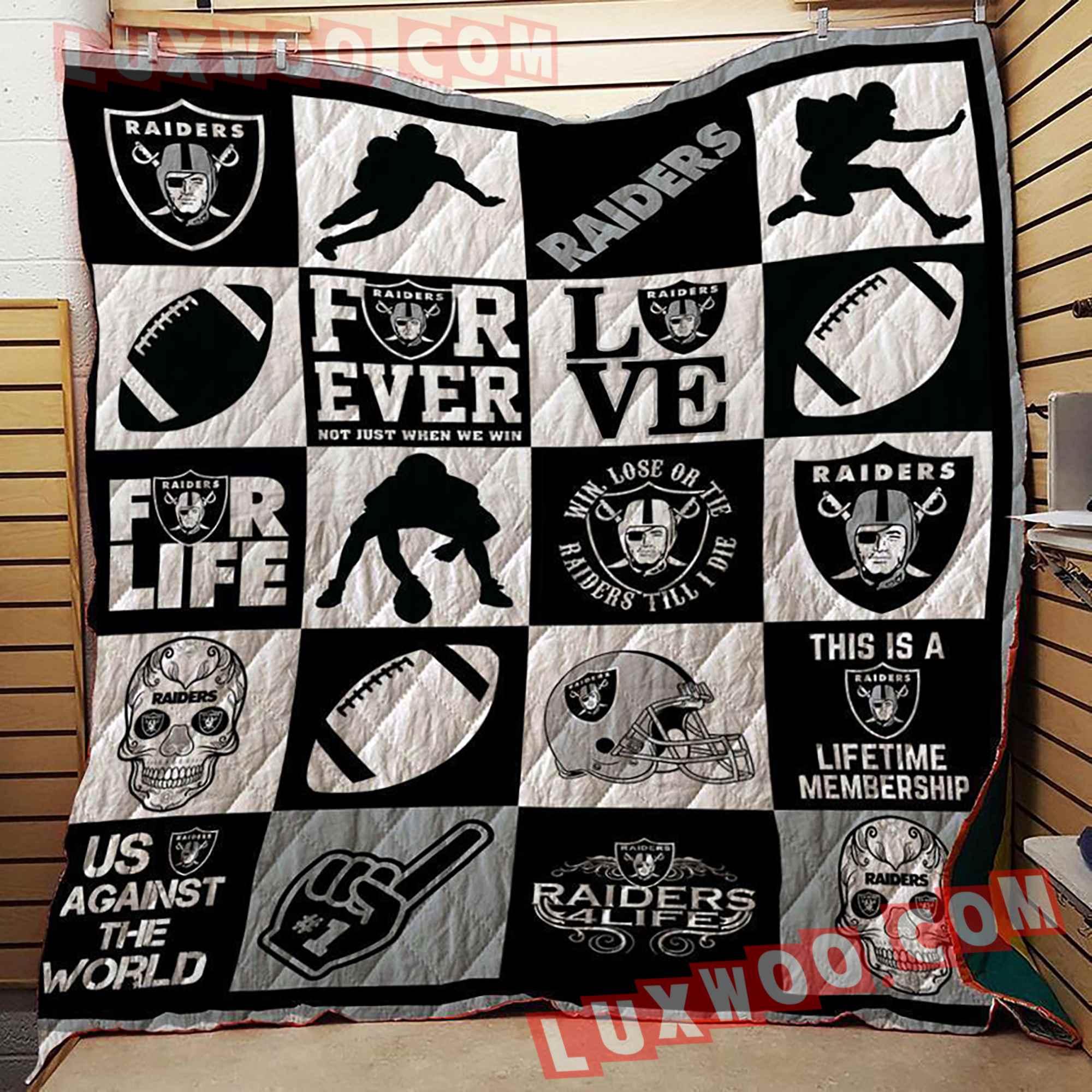 Oakland Raiders Nfl 3d Quilt Blanket V3