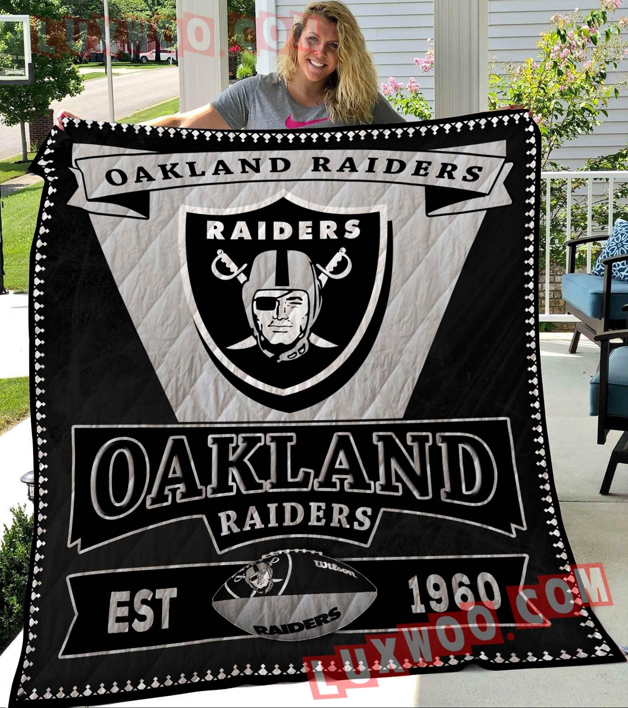 Oakland Raiders Nfl 3d Quilt Blanket V4