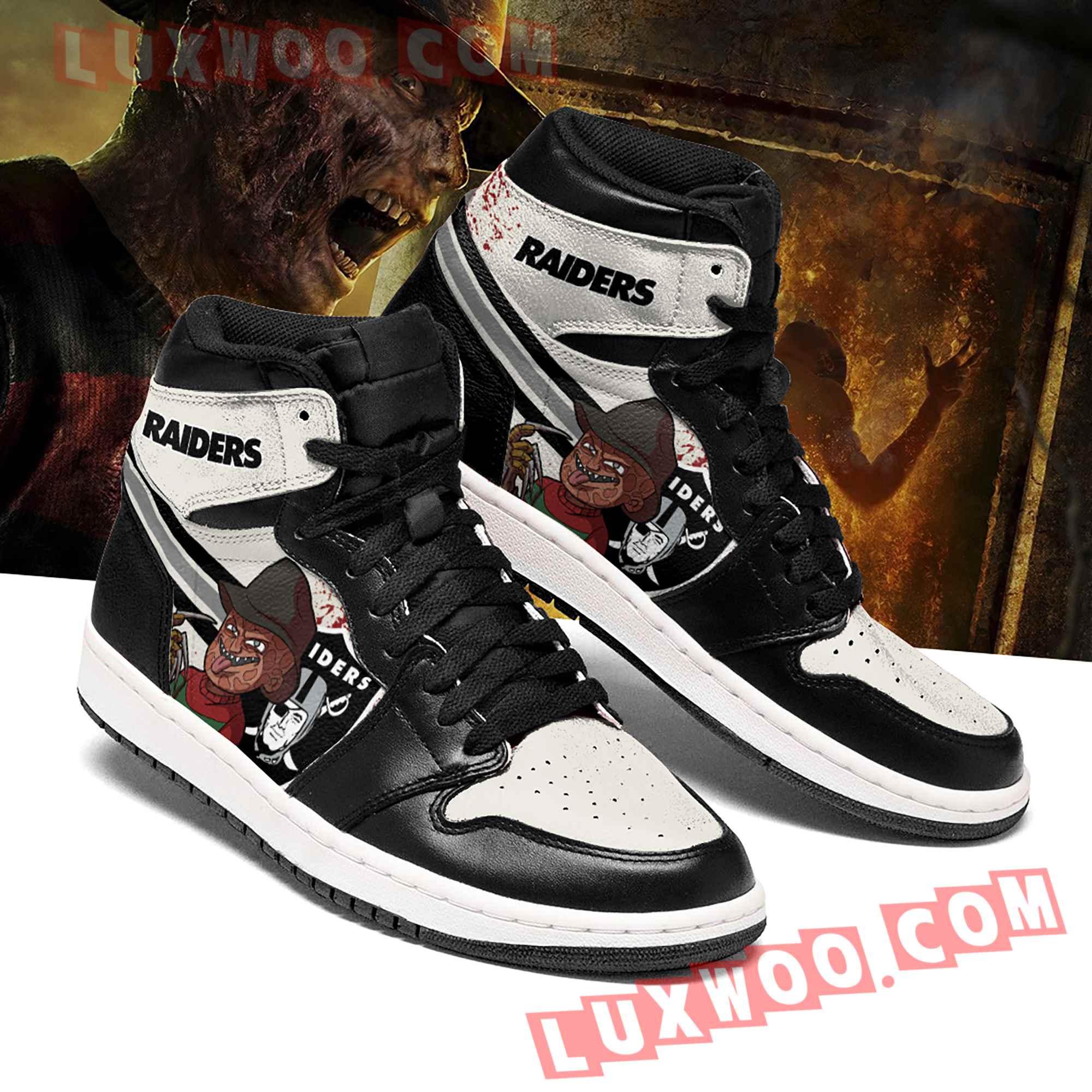 Oakland Raiders Nfl Air Jordan 1 Custom Shoes Sneaker V1