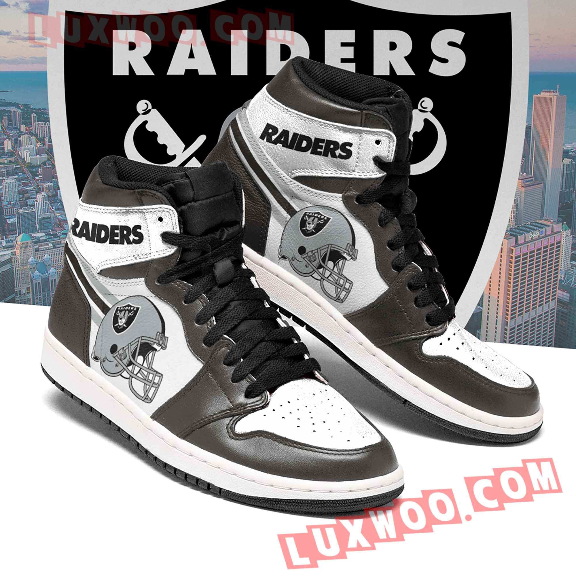 Oakland Raiders Nfl Air Jordan 1 Custom Shoes Sneaker V2