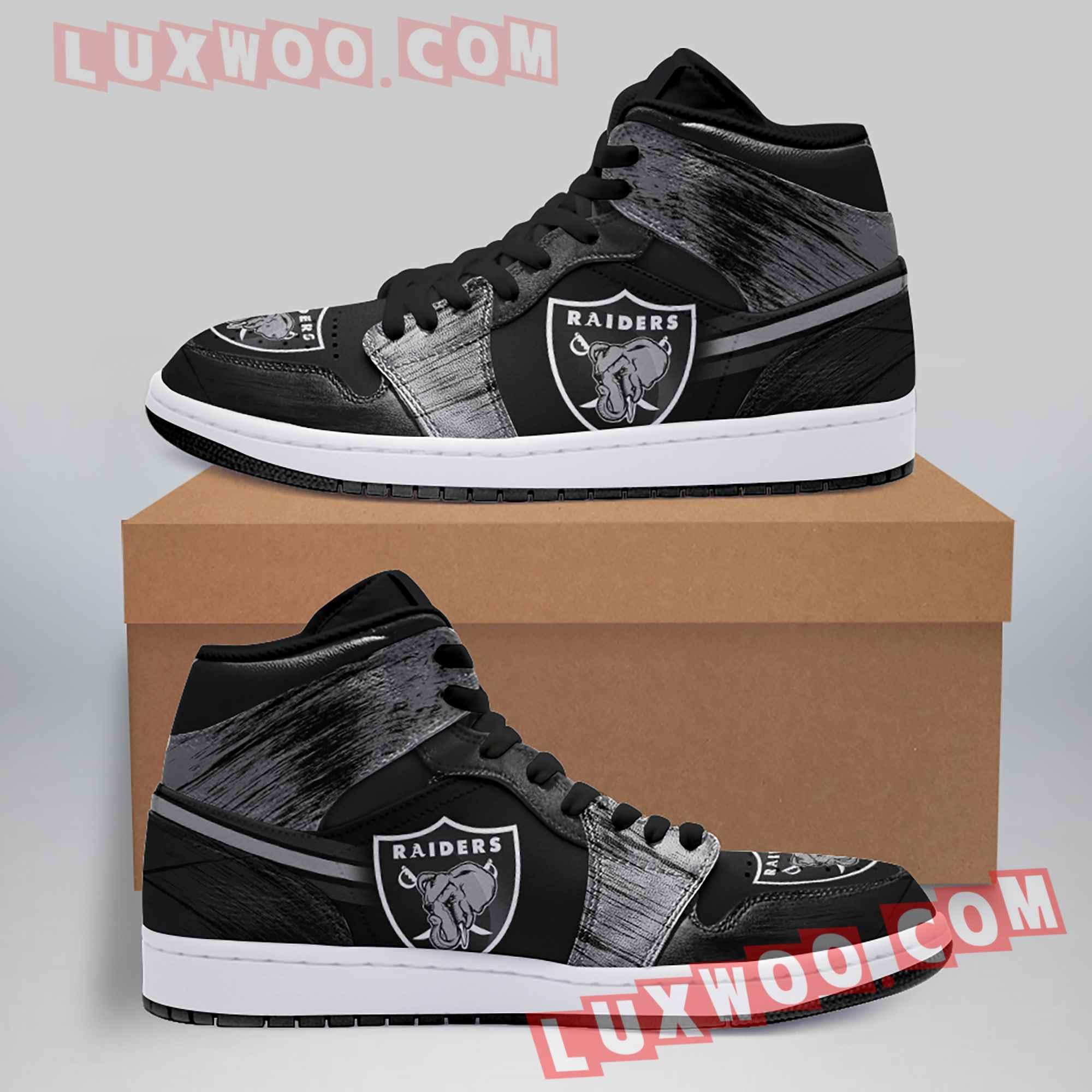 Oakland Raiders Nfl Air Jordan 1 Custom Shoes Sneaker V3