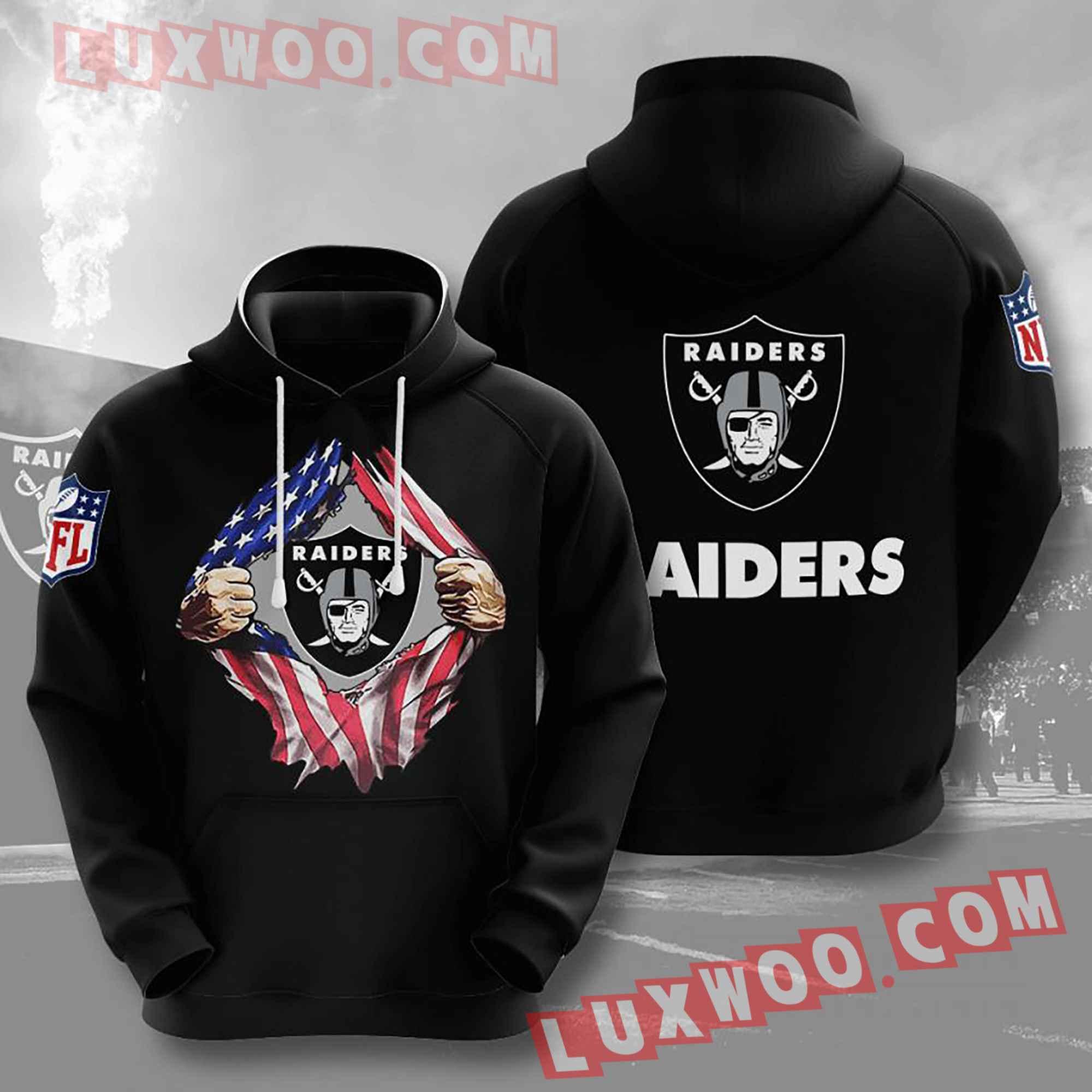 Oakland Raiders Nfl Custom All Over Print 3d Pullover Hoodie V16