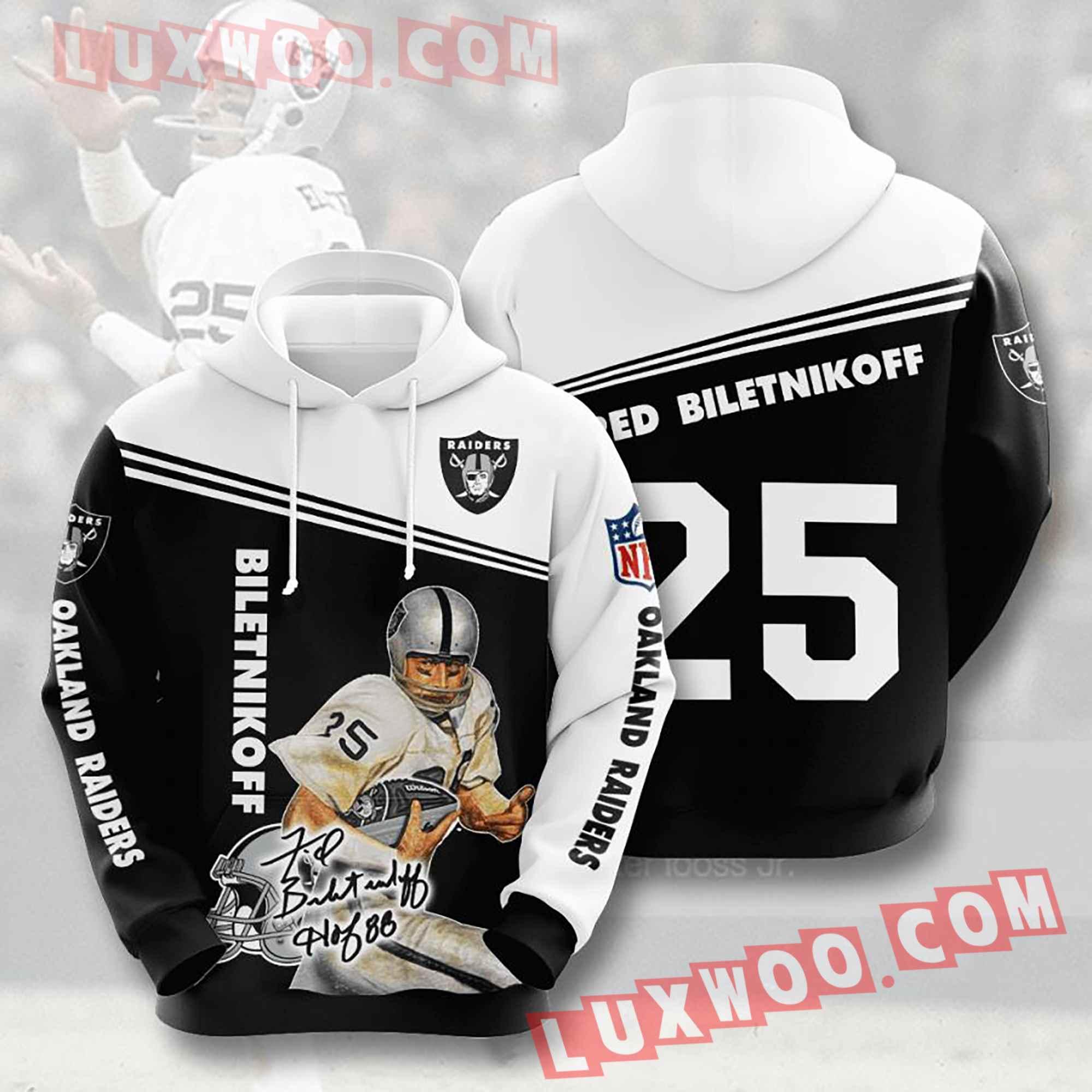 Oakland Raiders Nfl Custom All Over Print 3d Pullover Hoodie V18