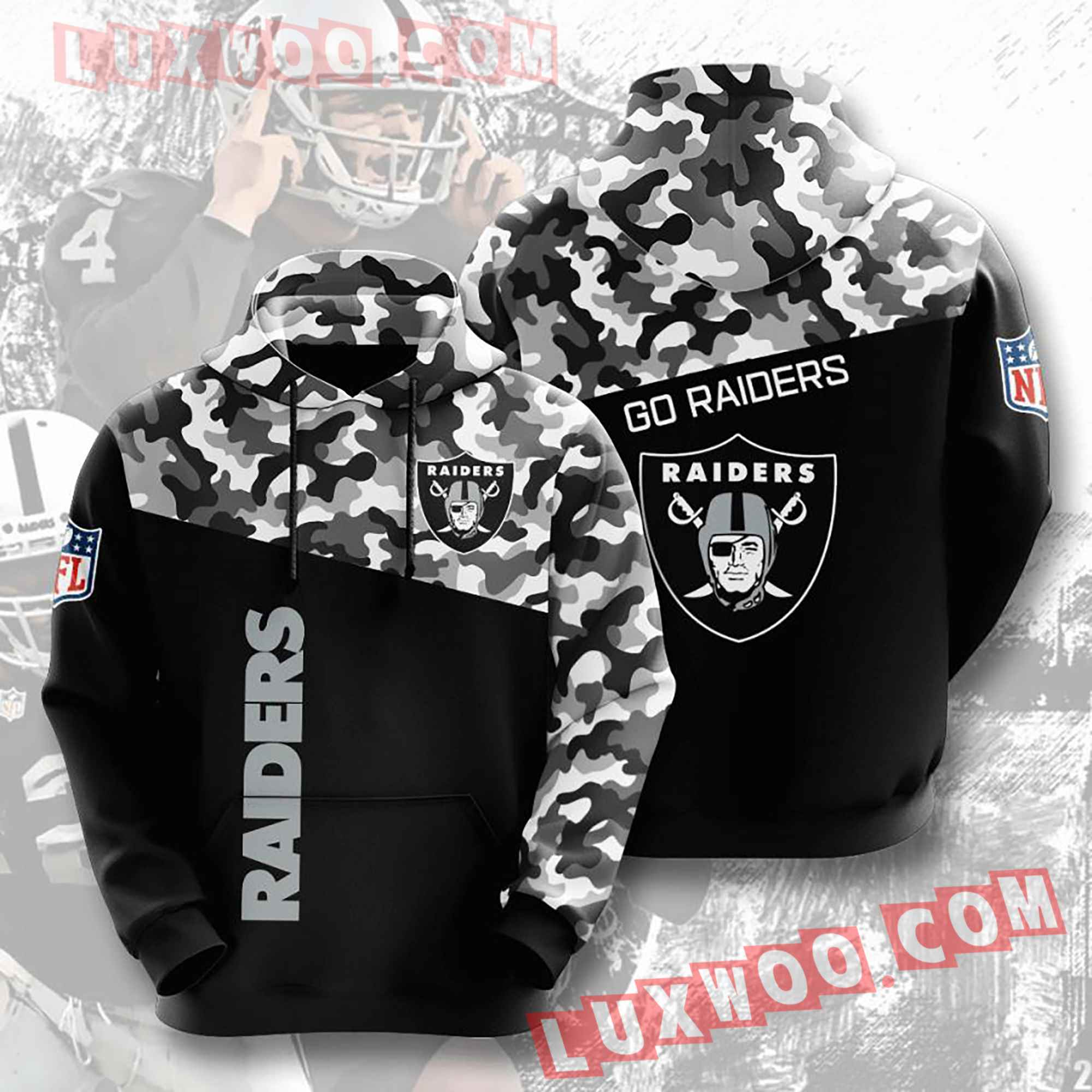 Oakland Raiders Nfl Custom All Over Print 3d Pullover Hoodie V2