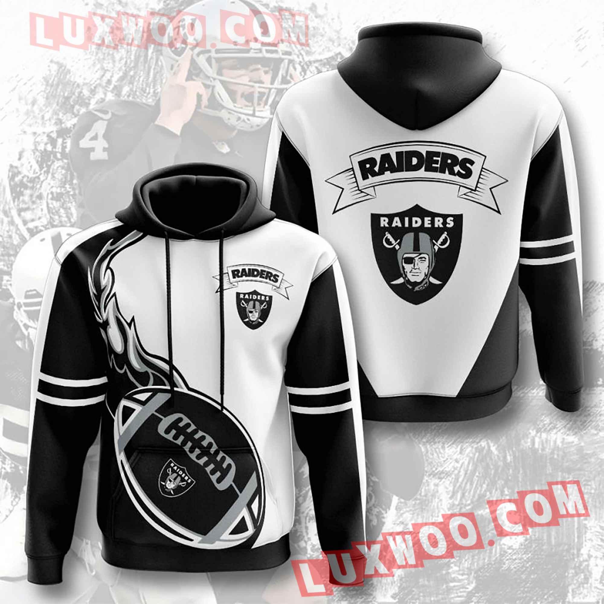 Oakland Raiders Nfl Custom All Over Print 3d Pullover Hoodie V3