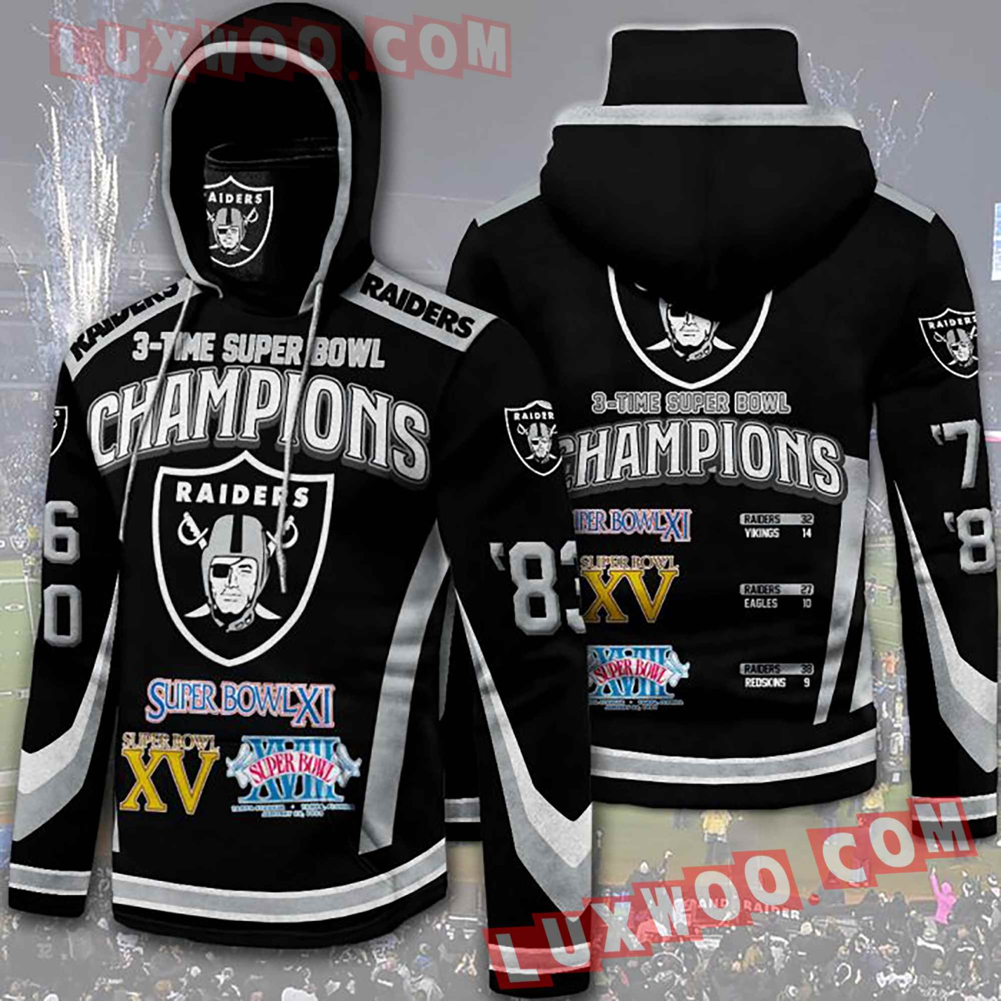 Oakland Raiders Nfl Custom All Over Print 3d Pullover Hoodie V8