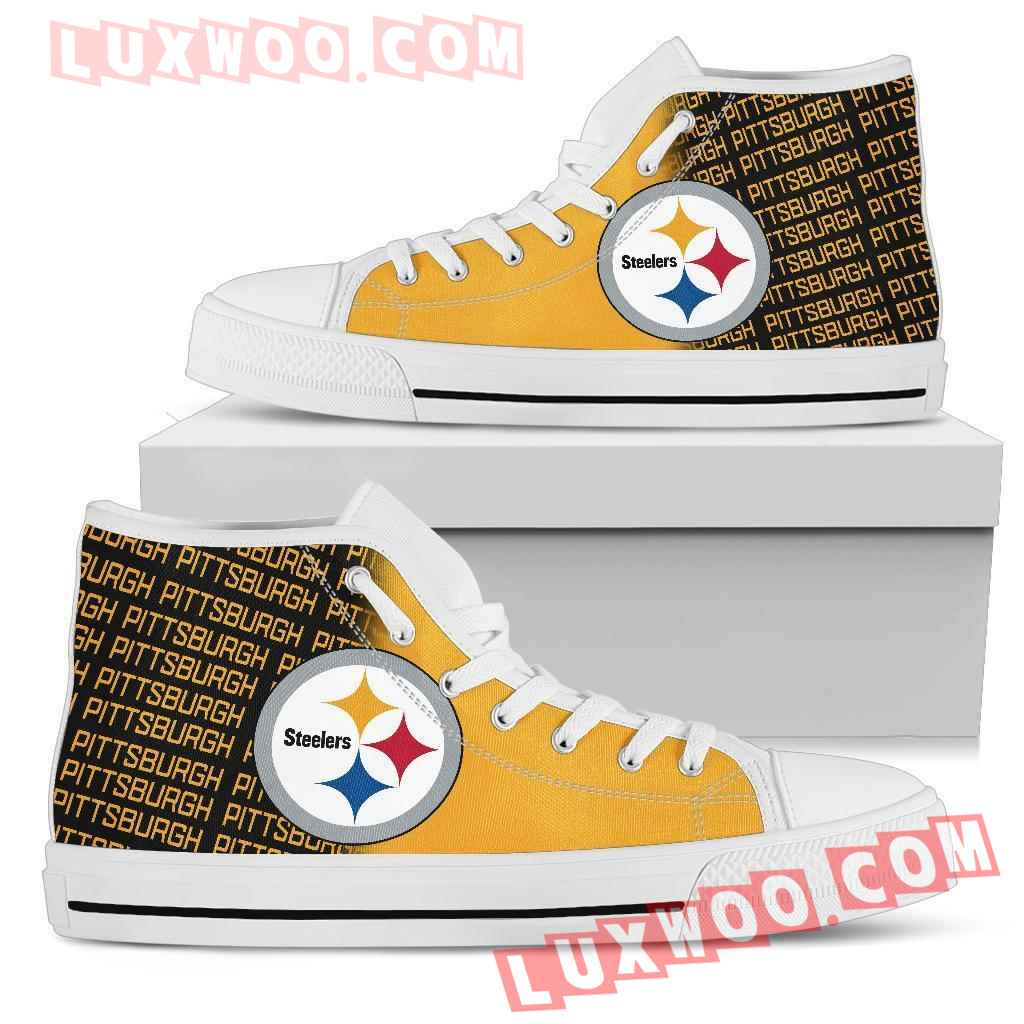Nfl Pittsburgh Steelers High Top Shoes Sneaker Sport V1