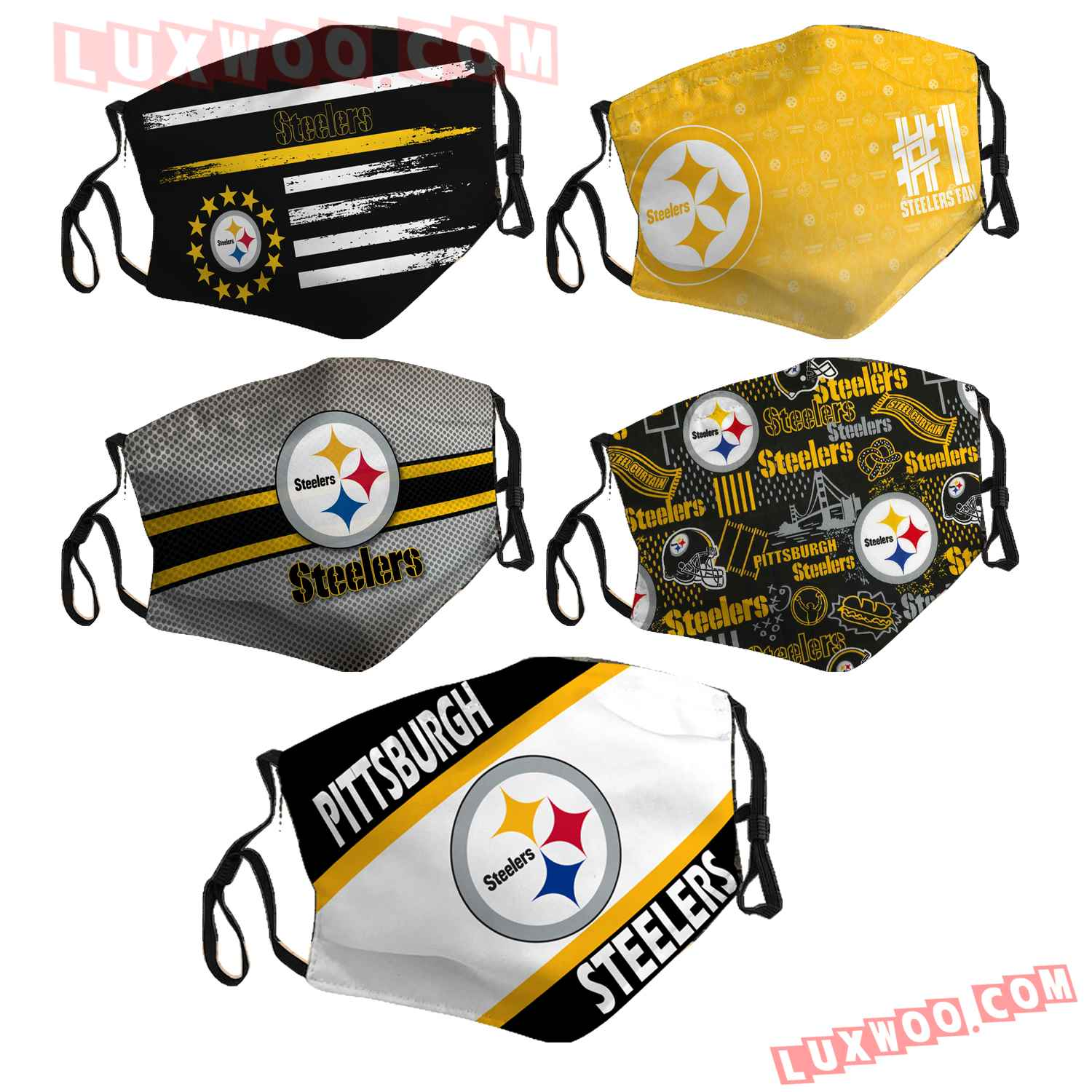 Pittsburgh Steelers 3d Face Mask Combo 5 V6