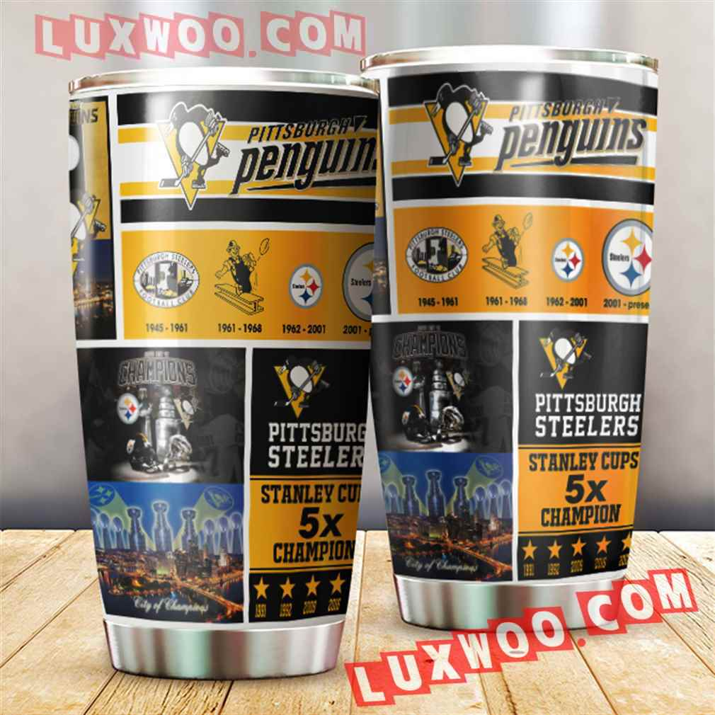 Pittsburgh Steelers And Pittsburgh Penguins Nfl 3d Tumbler V3